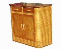 Stacked Rattan & Mahogany Storage Cabinet | Chairish