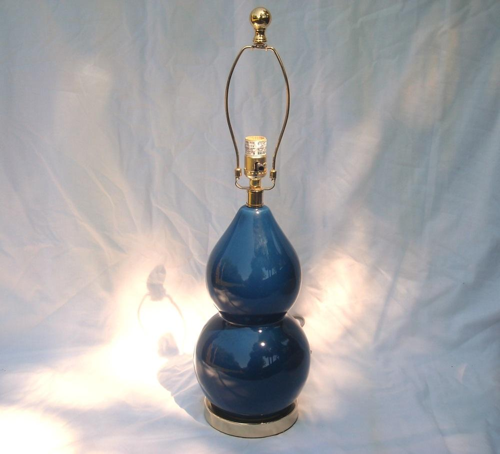 Safavieh Navy Blue Gourd Ceramic Table Lamp