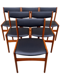 Mid Century Danish Modern Teak Dining Chairs - 6 | Chairish