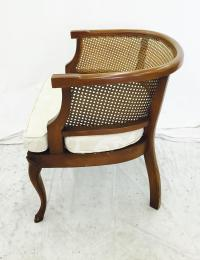 Vintage Mid-Century Cane Side Barrel Back Chair | Chairish