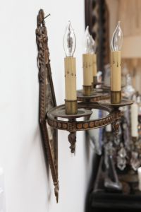 Art Nouveau Mirrored Sconces - A Pair | Chairish