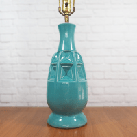 Mid Century Modern Geometric Pottery Lamp | Chairish