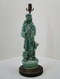 Jade Green Ceramic Taoist Sage Table Lamp | Chairish