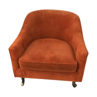 Mid Century Club Chair on Casters | Chairish