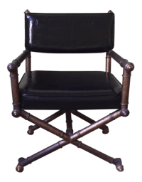 Mid Century Faux Bamboo Campaign Style Director's Chair ...