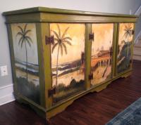 Artiero Brazil Tropical Palm Tree Hand-Painted Credenza ...