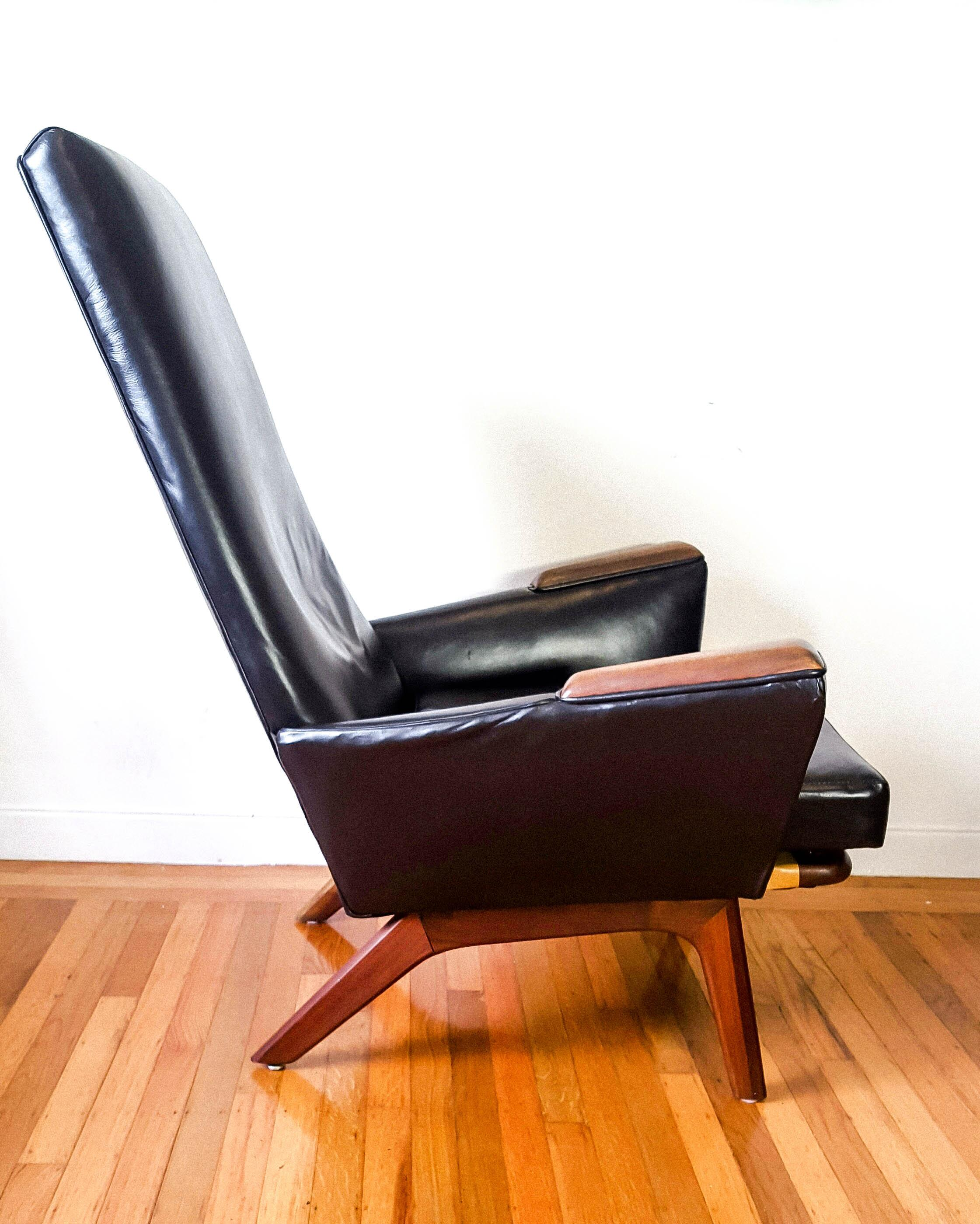 Mid Century Modern High Back Walnut Black Leather Lounge - Leather High Back Lounge Chair