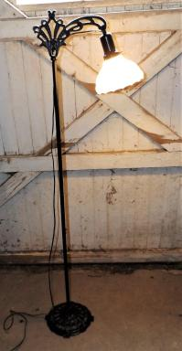 Antique Iron Bridge Floor Lamp & Milk Glass Shade | Chairish