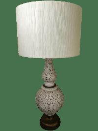 Vintage Hollywood Regency Tall Ceramic Table Lamp & Shade ...