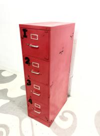 Red Distressed File Cabinet | Chairish