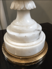 1900 Antique Alabaster Carved Table Lamp | Chairish