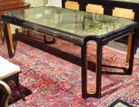 Maison Jansen Eglomise Glass Top Dining Table | Chairish