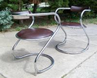 Mid-Century Modern Chrome Side Chairs - A Pair | Chairish