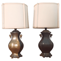 Vintage 1960's Brass Lamps/Original Shades - Pair | Chairish