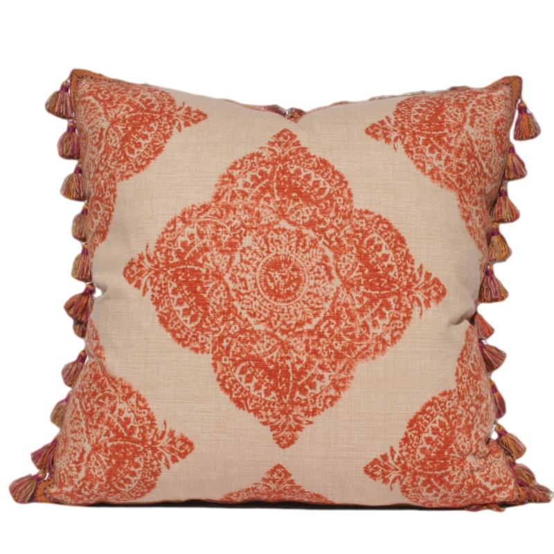 Terracotta Ikat Pillow With Tassel Trim Detail