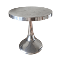 Modern Stainless Steel Small Dining Table | Chairish