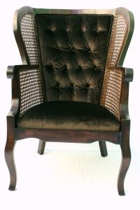 Vintage Regency Cane High Wingback Chair | Chairish