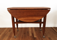 Danish Modern Drop Leaf Table Bar Cart | Chairish