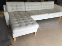 Contemporary Tufted White Leather Sectional Sofa | Chairish