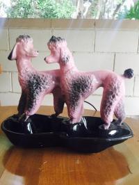 Vintage Double Poodle Table Lamp   Chairish