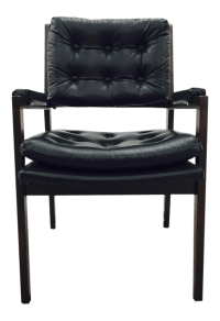 Vintage Milo Baughman Style Black Wood Desk Chair | Chairish