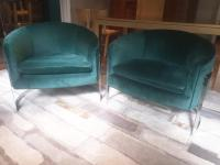 Milo Baughman Barrel Back Chrome Chairs - Set of 2   Chairish