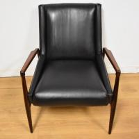 Mid-Century Rosewood & Black Leather Lounge Chair | Chairish