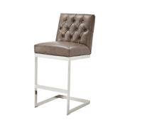 Gray Leather Tufted Bar Stool | Chairish