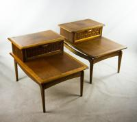 Lane Mid-Century Modern Basket Weave Step Tables - A Pair ...