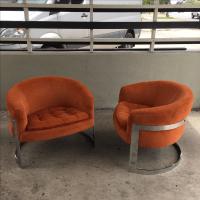 Milo Baughman Chrome Barrel Back Chairs - Pair   Chairish