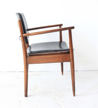 Vintage Mid-Century Modern Black Leather Chair | Chairish