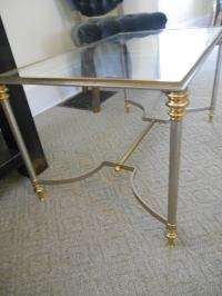 Vintage Maison Jansen Glass End Table | Chairish