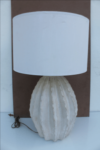 Vintage Fluted Plaster Signed Table Lamp | Chairish