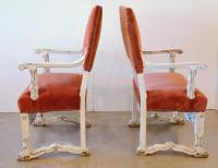 Victorian Gothic Wood & Velvet High Back Armchairs - A ...