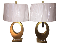 Tahari Uttermost Cadore Gilded Gold Lamps - Pair | Chairish
