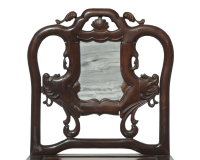 Chinese Rosewood Marble Plaque Armchair | Chairish