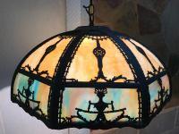 Antique Art Nouveau Slag Glass Light Chandelier | Chairish