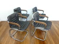 Mid-Century Tubular Chrome Armchairs - Set of 4 | Chairish