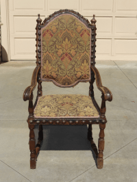 Spanish Revival Throne Chair with Leather | Chairish