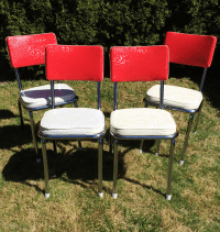 Vintage Vinyl Chrome Kitchen Chairs - Set of 4 | Chairish