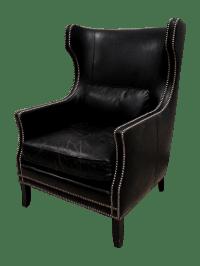 Bernhardt Black Saddle Leather Wingback Chair   Chairish