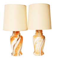 Mid-Century Modern Gold Swirl Ceramic Table Lamps - A Pair ...
