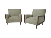 Outline Frame Mid-Century Lounge Chairs - Pair | Chairish