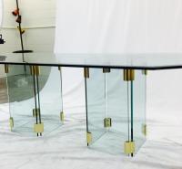 Mid-Century Modern Glass & Brass Dining Table | Chairish