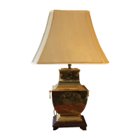Mid-Century Modern Asian Brass Table Lamp | Chairish