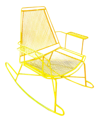 Mid-Century Metal Mesh Patio Rocking Chair | Chairish