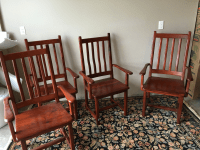 Red Jarrah Captain's Dining Chairs - Set of 4 | Chairish