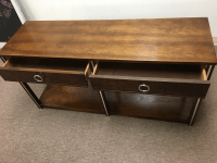 Vintage Wood and Chrome Console/Sofa Table | Chairish