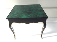 French Style Faux Malachite Top Side Table