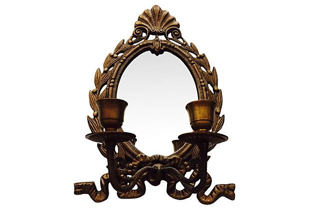 French Mirrored Candle Wall Sconce
